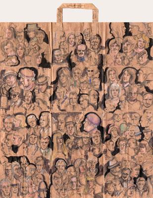 Tütenzeichnung Telezeichnungen, 2019, Bleistift, Farbstift, Aquarellstift, Tuschestift, ca. 47,5 x 54,5 cm