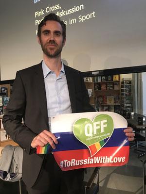 Auch  Claudius Schäfer, CEO der Schweizer Profiligen SFL, zeigt seine Solidarität mit #ToRussiaWithLove