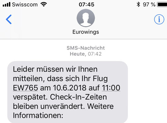 07:42 Uhr, Zurich Airport: Just arrived at the airport the first message about a delay... but still everything is ok