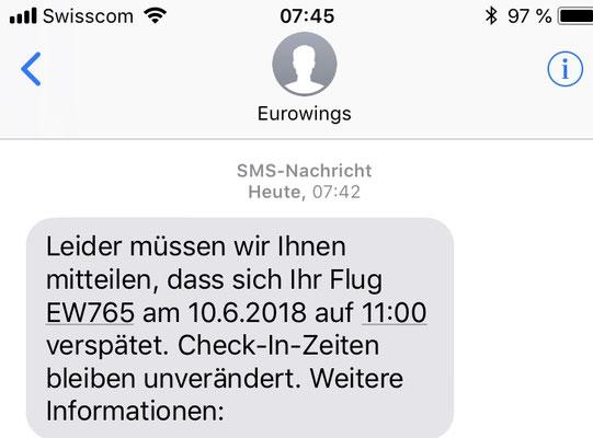 07:42 Uhr, Zürich Flughafen: Gerade am Flughafen angekommen gibt es den ersten kleinen Dämpfer, aber noch ist alles ok