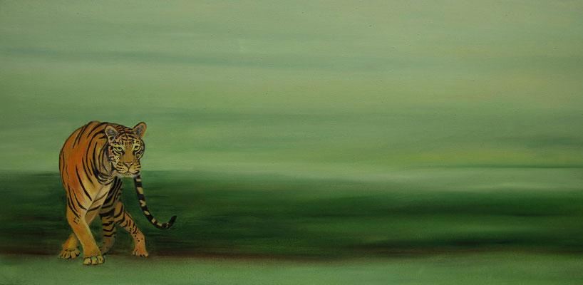 Panthera tigris ~ tiger ~ Tiger ~ tigre ~ tigre ~ tigre ~ тигр ~ 虎 ~ 호랑이 ~ 虎 -----40 x 80 cm oil/canvas