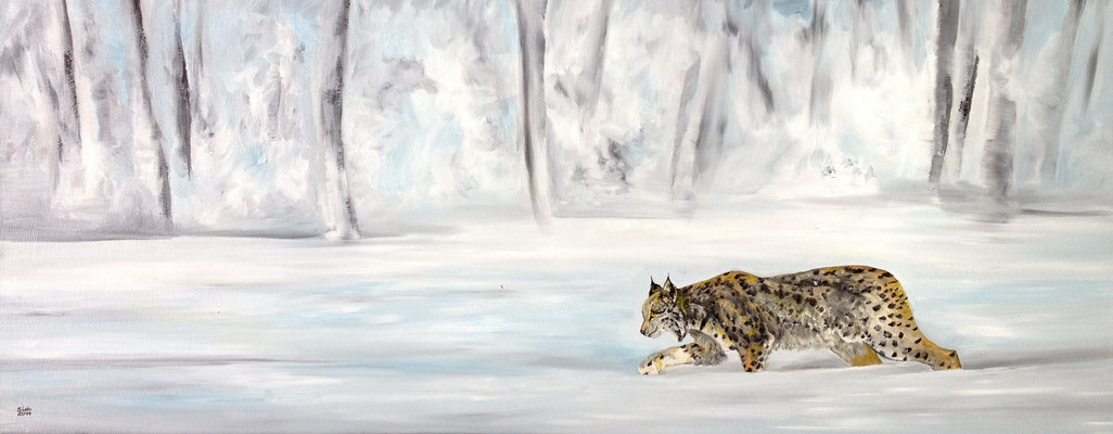 ~ Snow Leopard ~Schneeleopard  ----- 40 x 100 cm oil/canvas