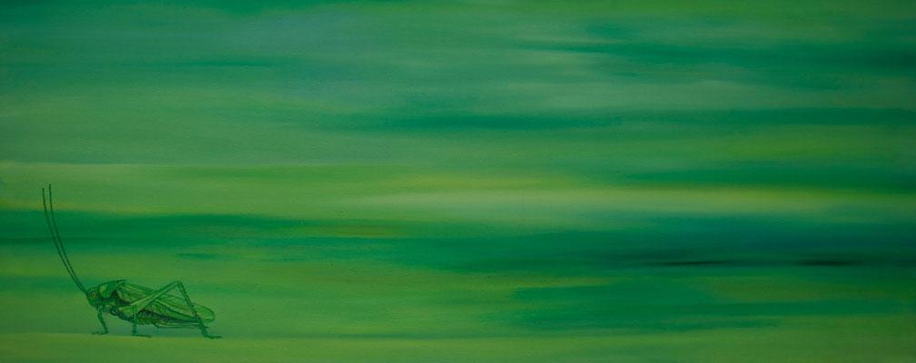 Cicada ~ grasshopper ~ Grashüpfer ~ cavalletta ~ sauterelle ~ saltamontes ~ кузнечик ~ 蚱蜢 ~ グラスホッパー ~ جندب ~ टिड्डी  -----   40 x 80 cm oil/canvas