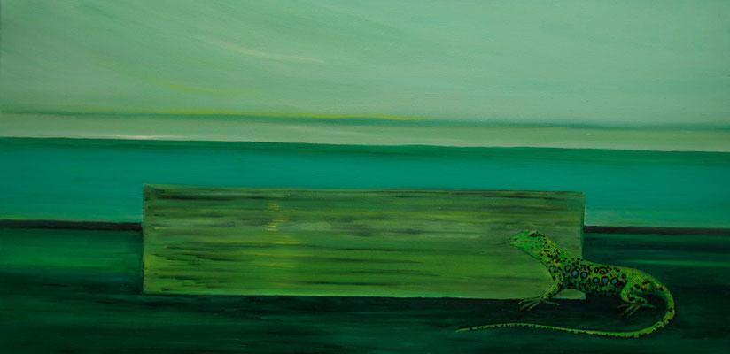 ~ Lacerta ~ Lizard ~ Eidechse ~ lucertola ~ lézard ~ lagarto ~ 蜥蜴 ~ ящерица ~トカゲ ~ 도마뱀  -----  40 x 80 cm oil/canvas