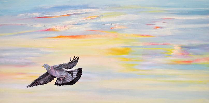 Columbæ ~ pigeon ~ Taube ~ piccione ~ pigeon ~ paloma ~ голубь ~ 鴿子 ~ 鴿子 ~ حمامة ~ कबूतर  -----  60 x 120 cm  oil/canvas