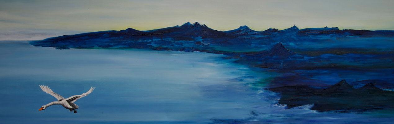 Cygnus ~ swan ~ Schwan ~ cigno ~ cygne ~ cisne ~ лебедь ~ 天鵝 ~ スワン ~ بجعة ~ हंस  ----- 60x180 cm oil/canvas