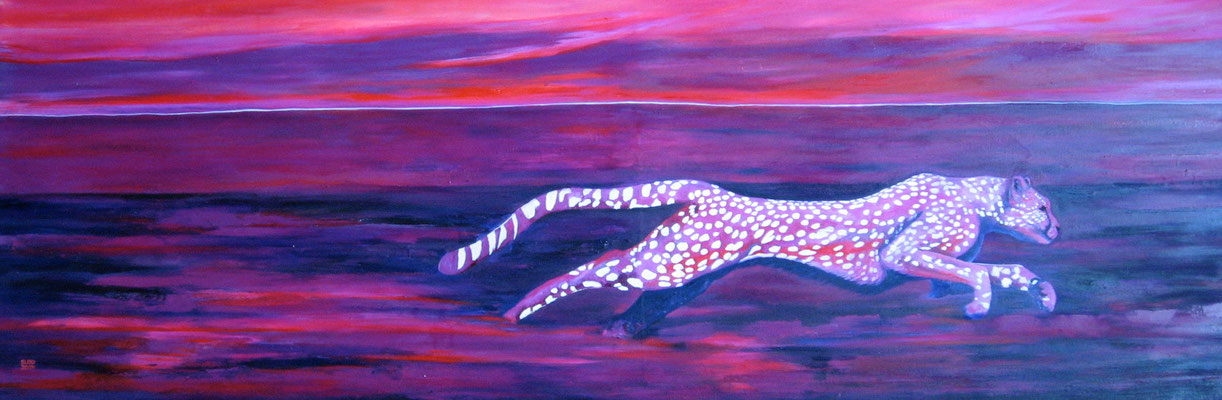 ~ Big Pink Leopard -----  60x180cm  oil/canvas