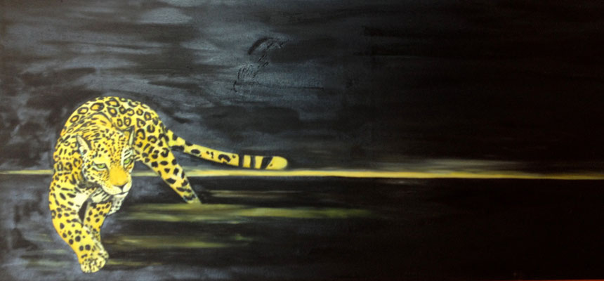 Pardus ~ leopard ~ Leopard ~ leopardo ~ léopard ~ leopardo ~ леопард ~ 豹 ~ ヒョウ ~ فهد ~ तेंदुआ  -----  40 x 120 cm oil/canvas