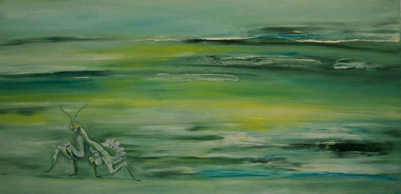 Hierodula membranacea ~ mantis ~ Gottesanbeterin ~ mantide ~ mante ~ mantis ~ богомол ~ 螳 ~ カマキリ ~ فرس النبي ~ एक प्रकार का कीड़ा  ~   40 x 60 cm oil/canvas
