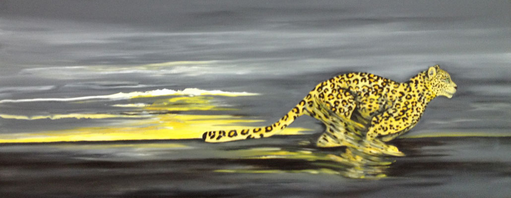 Black-yellow Leopard running ----- 40 x120 cm oil/canvas