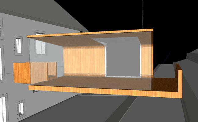 Architekturskizze Fabian Berthold für die Anbindung vom Werkhaus zur großen, terassierten Gartenanlage, Öffnung nach Osten