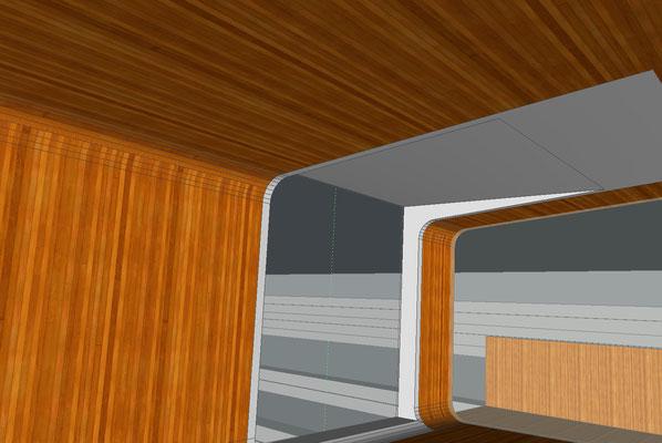 Architekturskizze Fabian Berthold für die Anbindung vom Werkhaus zur großen, terassierten Gartenanlage, Detail Material und Fenster