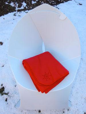 Original Flauschy - Fleecedecke für die Terrasse in rot