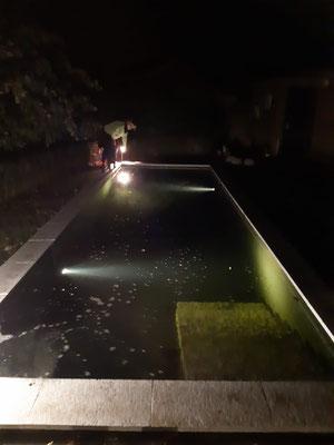 Gartengestaltung durchführen Unterwasserbeleuchtung in Koiteich einbringen