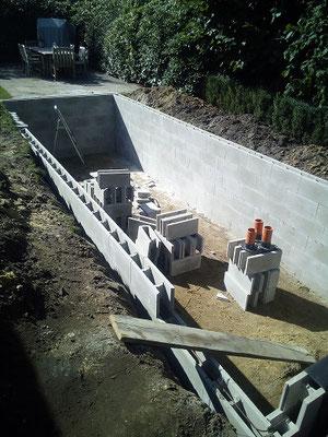 Schalungssteine werden aufeinander gesetzt  Koiteich aus Beton langlebig und schön
