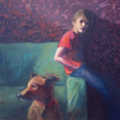 jongen met hond, formaat: 90cm x 90cm, olie op 3D linnen