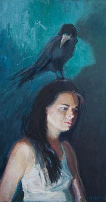 vrouw met vogel, formaat: 120cm x 67cm, olie op paneel