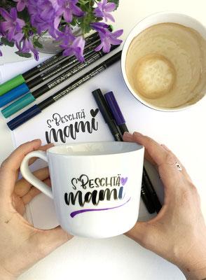 Muttertagsgeschenk mit den Porzellanstiften von Edding beschriftet.