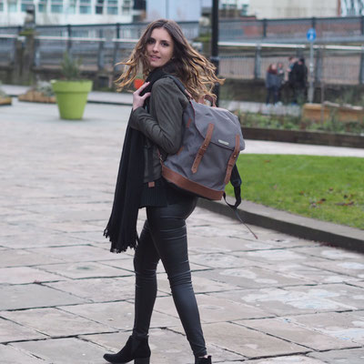 Margelisch canvas backpack with ecoleather in London