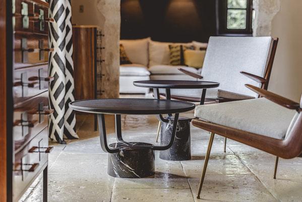 Hansel et Gretel Indoor, les tables basses du designer Pierre Dubourg pour Monolithe édition