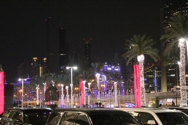 vor der Dubaimall bei Dunkelheit