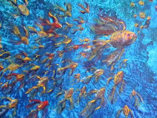 """Catherine MICAELLI     """"Aquarium""""              20P - acrylique sur papier"""