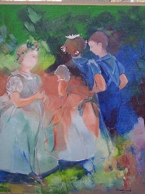 "Christiane Kesselmark        ""les demoiselles d'honneur""       huile         80cm x 80 cm"