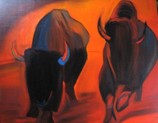 """Dominique Marsan              """"Bisons""""           Huile sur toile                100x81"""