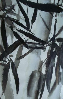"""Catherine MICAELLIl    """"Les bambous""""    45x50cm    encre sur papier"""