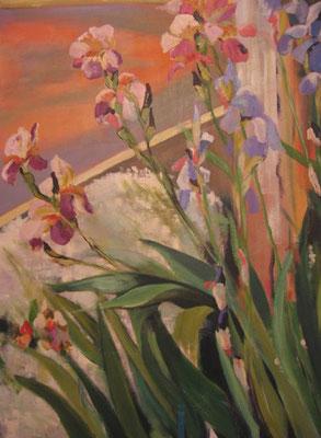 """Dominique Marsan               """"Iris à Sivry""""     Acrylique sur toile      92x65"""