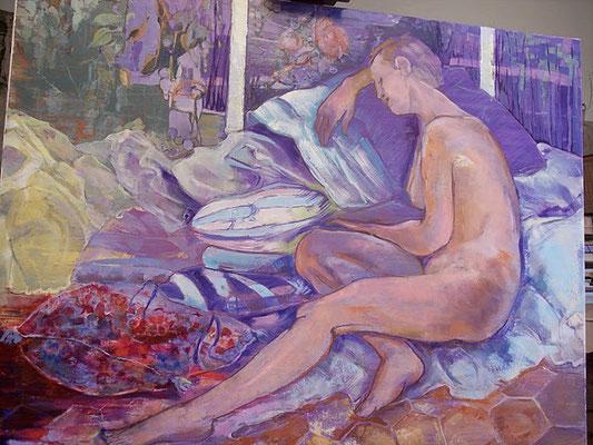 "Christiane Kesselmark    ""le repos de Juliette"" huile     90cm x120cm"