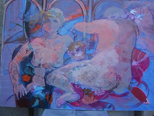 """Christiane Kesselmark    """" le gynécée """"             huile        90cm x 120 cm"""