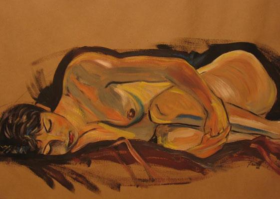 """Dominique Marsan                 """"Lovée""""          Huile sur papier       110x60"""