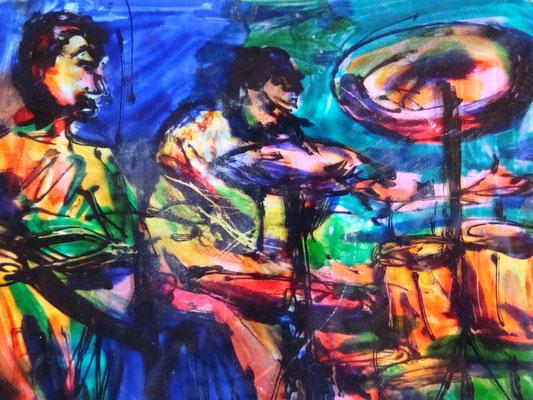 "Catherine MICAELLI            ""jazzmen""       40x50cm   peinture sur pexiglas"