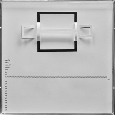 D108, Projekt mit gerhard rühm, 2021, 50 x 50 cm, rückseitige Signatur gerhard rühm + Jürgen Wolff