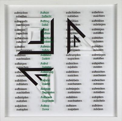 X / X, Projekt mit franz mon, 2021, 50 x 50 cm, rückseitige Signatur franz mon + Jürgen Wolff
