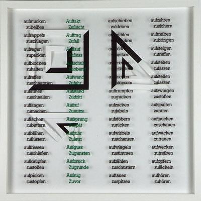 VII / X, Projekt mit franz mon, 2021, 50 x 50 cm, rückseitige Signatur franz mon + Jürgen Wolff