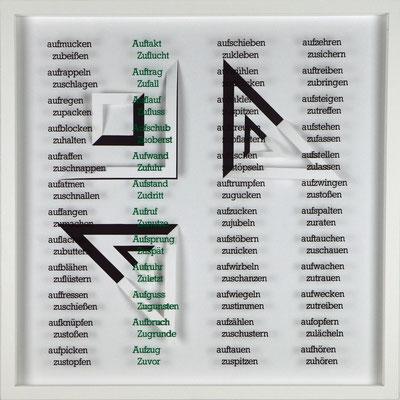 VIII / X, Projekt mit franz mon, 2021, 50 x 50 cm, rückseitige Signatur franz mon + Jürgen Wolff