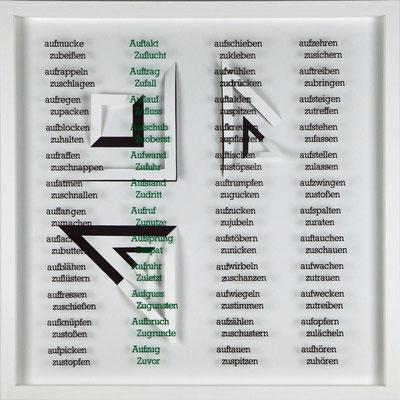 VI / X, Projekt mit franz mon, 2021, 50 x 50 cm, rückseitige Signatur franz mon + Jürgen Wolff