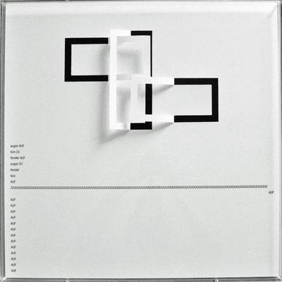 D105, Projekt mit gerhard rühm, 2021, 50 x 50 cm, rückseitige Signatur gerhard rühm + Jürgen Wolff