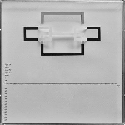 D106, Projekt mit gerhard rühm, 2021, 50 x 50 cm, rückseitige Signatur gerhard rühm + Jürgen Wolff