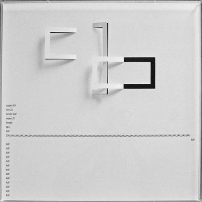 D103, Projekt mit gerhard rühm, 2021, 50 x 50 cm, rückseitige Signatur gerhard rühm + Jürgen Wolff