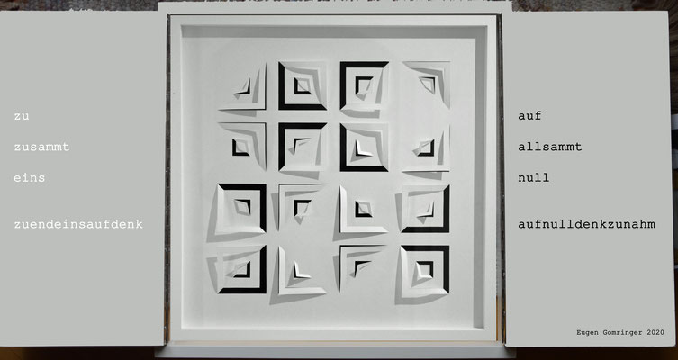 Holzkassette, signiert , 2020, 50 x 50 x  5 cm geschlossen, Text EUGEN GOMRINGER, Papierschnitt und Projektidee JÜRGEN WOLFF
