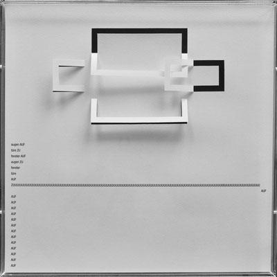 D109, Projekt mit gerhard rühm, 2021, 50 x 50 cm, rückseitige Signatur gerhard rühm + Jürgen Wolff