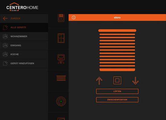 Die Alternative zu Somfy TaHoma Box, Somfy Connexoon: Das elero Centero Home Smart Home mit Somfy RTS Kompatibiltät, HomeMatic, Phillips HUE, Osram Lightify, Tado uvm. jetzt zum günstigen Preis im Online Shop kaufen. elero Centero Home App Rollladen