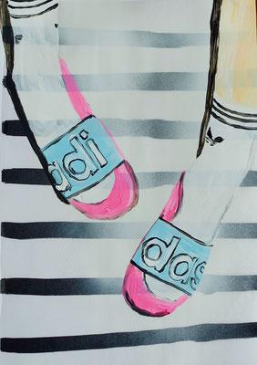 o.T., 2015 (Spray- & Acrylfarbe auf Folienkopie)