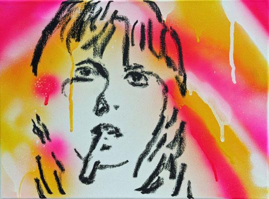 o.T., 2007 (Sprayfarbe und Ölkreide auf Leinwand)