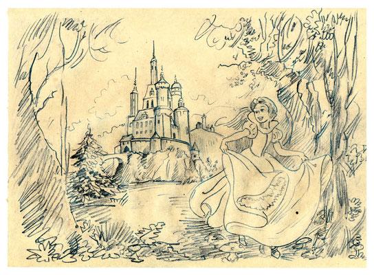Skizze zu Schneewittchen m - die Burg im Hintergrund trägt Görlitzer Zinnen