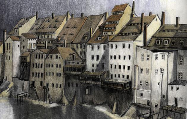Görlitz (Zgorzelec) - Neißeufer oberhalb der Altstadtbrücke, um 1880