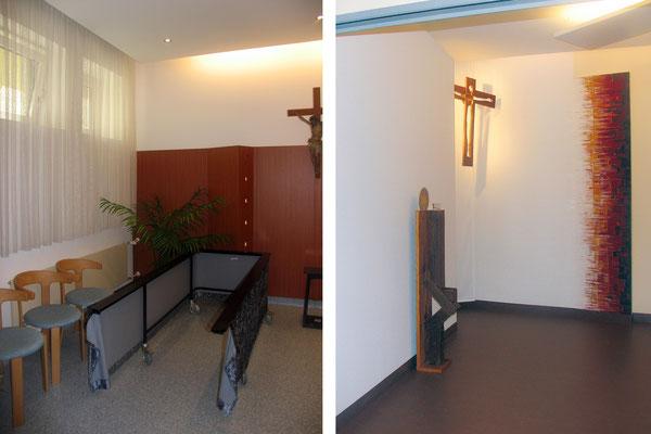 Der Raum vor und nach der Umgestaltung